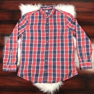 Nordstrom 14th & Union Plaid Red Blue Long Sleeve